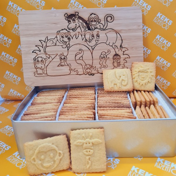"Kinder-Keksdose ""Zoo"" mit 750g Logokeksen / Holzdeckel / Frühstücksbrettchen"