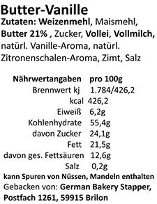 Zutaten-Butter-Vanille