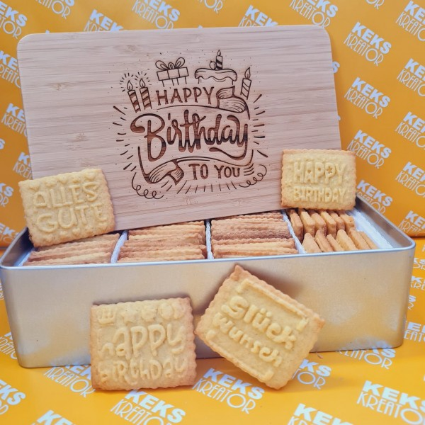 "Geburtstags-Keksdose ""Happy Birthday"" mit 750g Logokeksen / Holzdeckel / Frühstücksbrettchen"