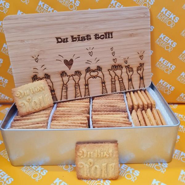 Du bist toll-Keksdose mit 750g Logokeksen / Holzdeckel / Frühstücksbrettchen