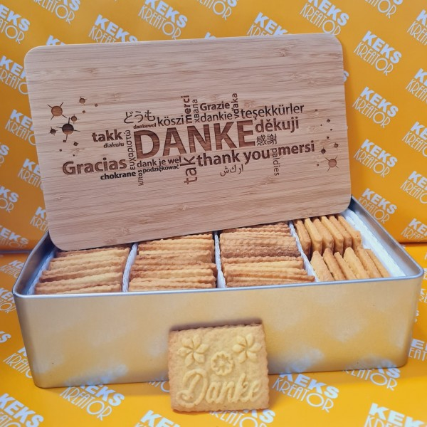 "Danke-Keksdose ""Danke/Merci/Thankyou"" mit 750g Logokeksen / Holzdeckel / Frühstücksbrettchen"