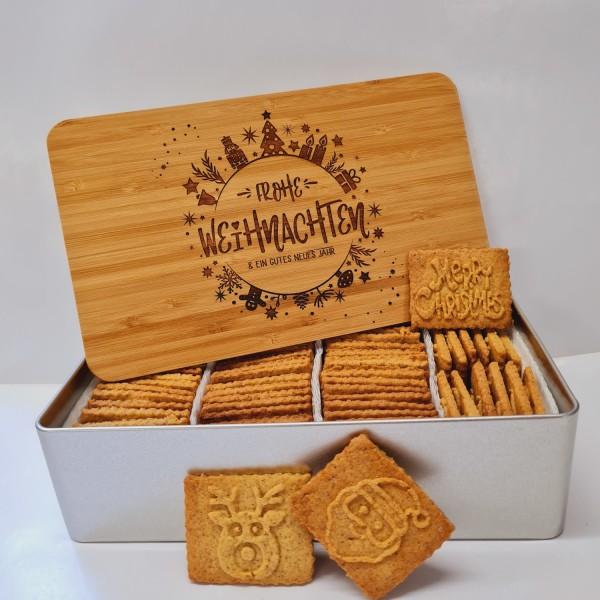 """Weihnachts-Keksdose """"Frohe Weihnachten"""" mit 750g Butter-Spekulatius / Holzdeckel / Frühstücksbrettch"""