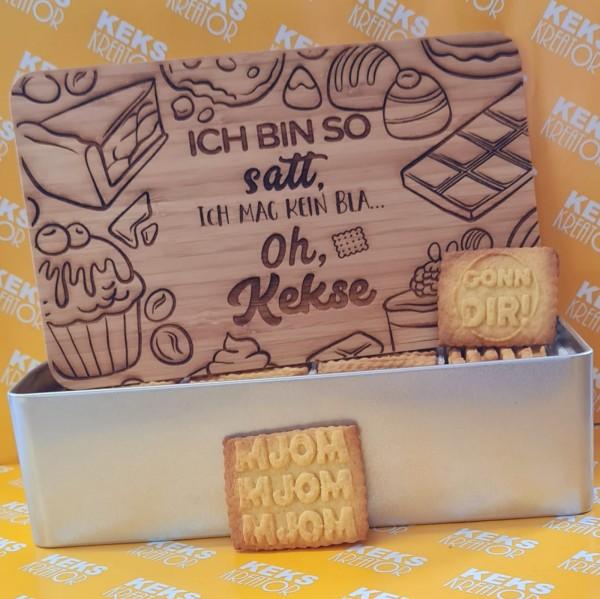"""Oh-Kekse-Keksdose """"Ich bin so satt"""" mit 750g Logokeksen / Holzdeckel / Frühstücksbrettchen"""