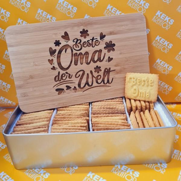 "Beste Oma-Keksdose ""Beste Oma"" mit 750g Logokeksen / Holzdeckel / Frühstücksbrettchen"